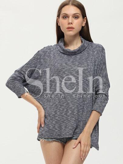 Grey Turtleneck Loose T-Shirt