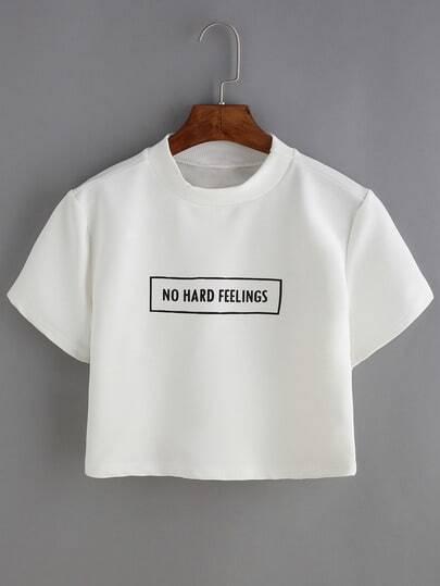 White Short Sleeve Letter Print T-shirt