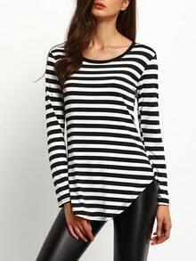 Black Long Sleeve Curved Hemline Stripe T-shirt
