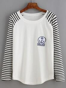 White Long Sleeve Embroidery Stripe T-shirt