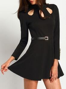 Black Long Sleeve Hollow Skater Dress