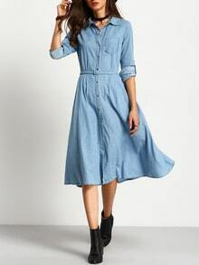 Light Blue Single-breasted Denim Midi Dress