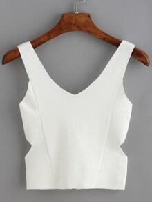 White Cutout Zipper Knit Cami Top