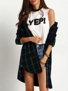 Green Long Sleeve Side Split Plaid Blouse