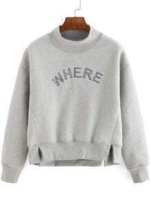 Grey Long Sleeve Letter Print High Neck Sweatshirt