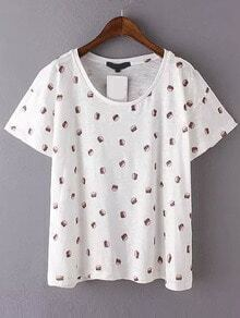 White Short Sleeve Hamburger Print T-Shirt