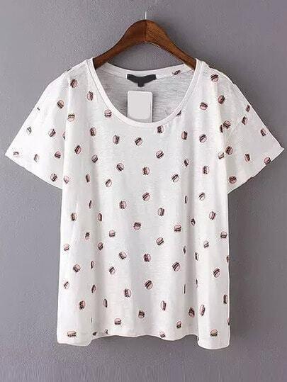 White Short Sleeve Hamburger Print T-Shirt