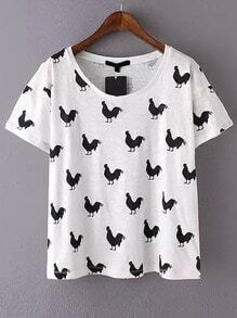 White Black Short Sleeve Cock Print T-Shirt