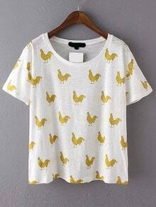 White Yellow Short Sleeve Cock Print T-Shirt