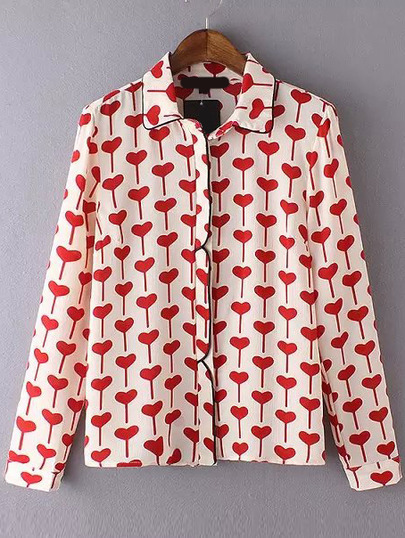 Red White Contrast Trims Hearts Print Blouse