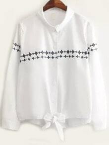 White Long Sleeve Geometric Print Knotted Blouse