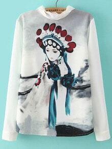 Multicolor Peking Opera Print Lace Loose Blouse
