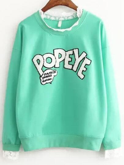 Green Long Sleeve Lace Letters Pattern Sweatshirt