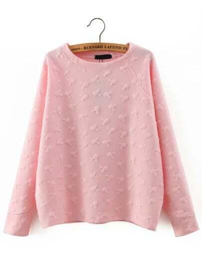Pink Round Neck Cartoon Pattern Sweatshirt