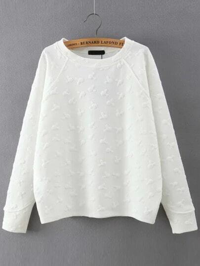 White Round Neck Cartoon Pattern Sweatshirt