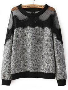Black Round Neck Sheer Mesh Lace Sweatshirt