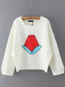 White Round Neck Floral Crop Sweatshirt