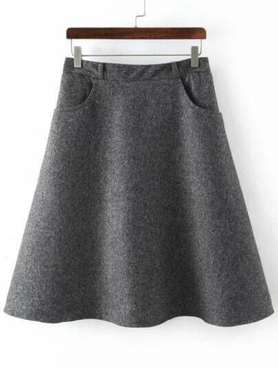 Dark Grey Elastic Waist Pockets Skirt