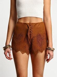 Brown Lace Up Eyelet Shorts