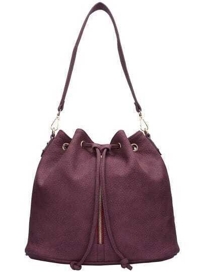 Red Drawstring PU Bucket Bag