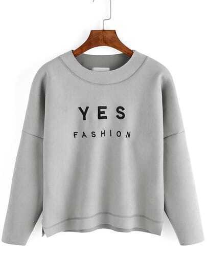 Grey Round Neck Letters Embroidered Crop Sweatshirt