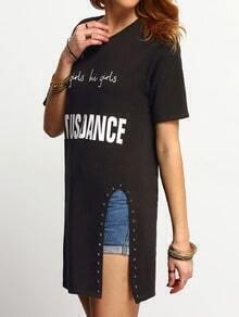 Black Short Sleeve Letters Print Rivet Split T-Shirt