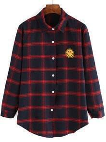 Red Blue Plaid Smile Pattern Blouse