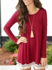 Red Long Sleeve Lace Embellished Tee Dress