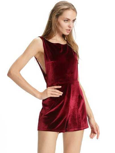 Red Mock Neck Backless Velvet Jumpsuit