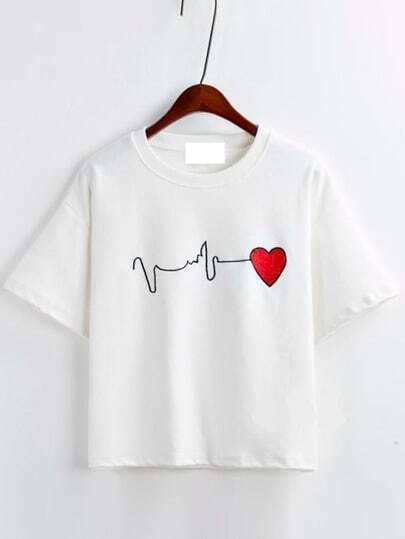 White Short Sleeve Heart Embroidered T-Shirt