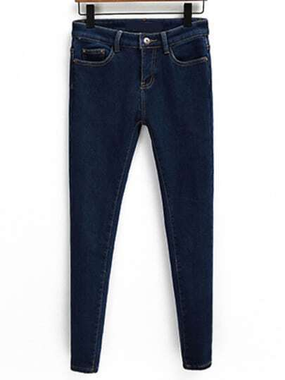 Navy Pockets Slim Denim Pencil Pant