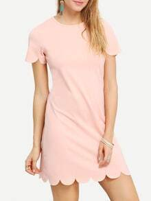 Pink Crew Neck Scallop Shift Dress