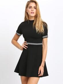 Black Mock Neck Color Blcok Trims Dress