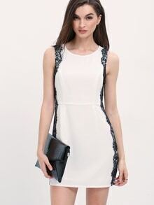 White Sleeveless Contrast Lace Keyhole Back Dress