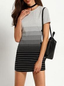 White Striped Color Blcok Shift Dress