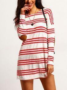 White Striped Elbow Patch Shift Dress