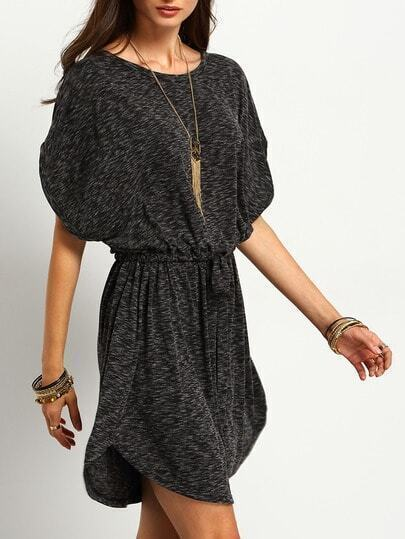 Grey Batwing Sleeve Drawstring Waist Dress