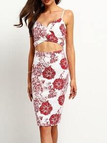 White Spaghetti Strap Cut Out Floral Sheath Dress