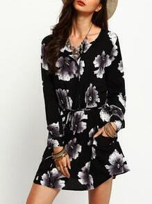 Black Drawstring Waist Floral Pockets Dress