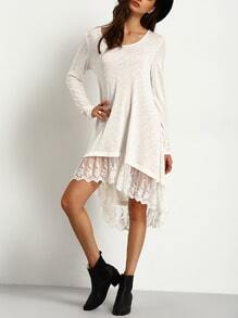 Contrast Lace Dip Hem Swing Dress