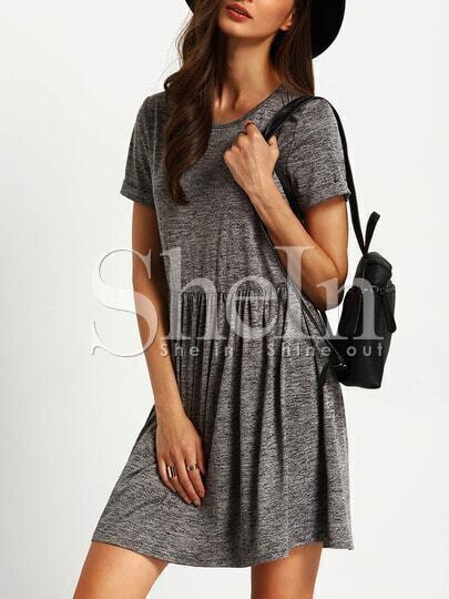 Grey Crew Neck A Line Dress