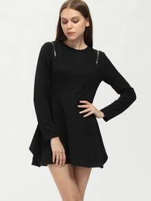 Black Crew Neck Zipper Asymmetric Dress