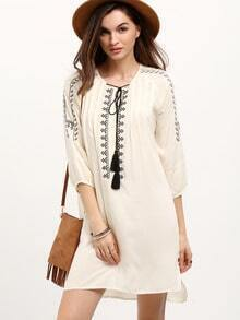 Beige Drawstring Neck Embroidered Shift Dress