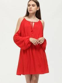 Red Tie Neck Cold Shoulder Dress