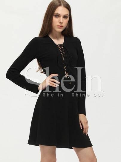 Black Lace Up Neck A Line Dress
