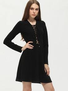 Black Lace Up Neck A Line Dress