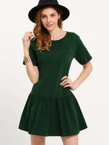 Green Drop Waist Flounce Dress