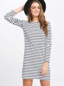 White Striped Crew Neck Shift Dress