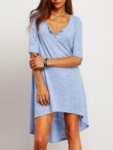 Button Front Dip Hem Dress