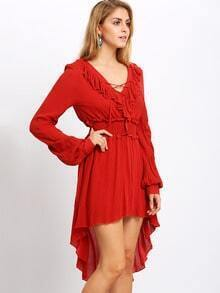 Red Ruffle High Low Dress